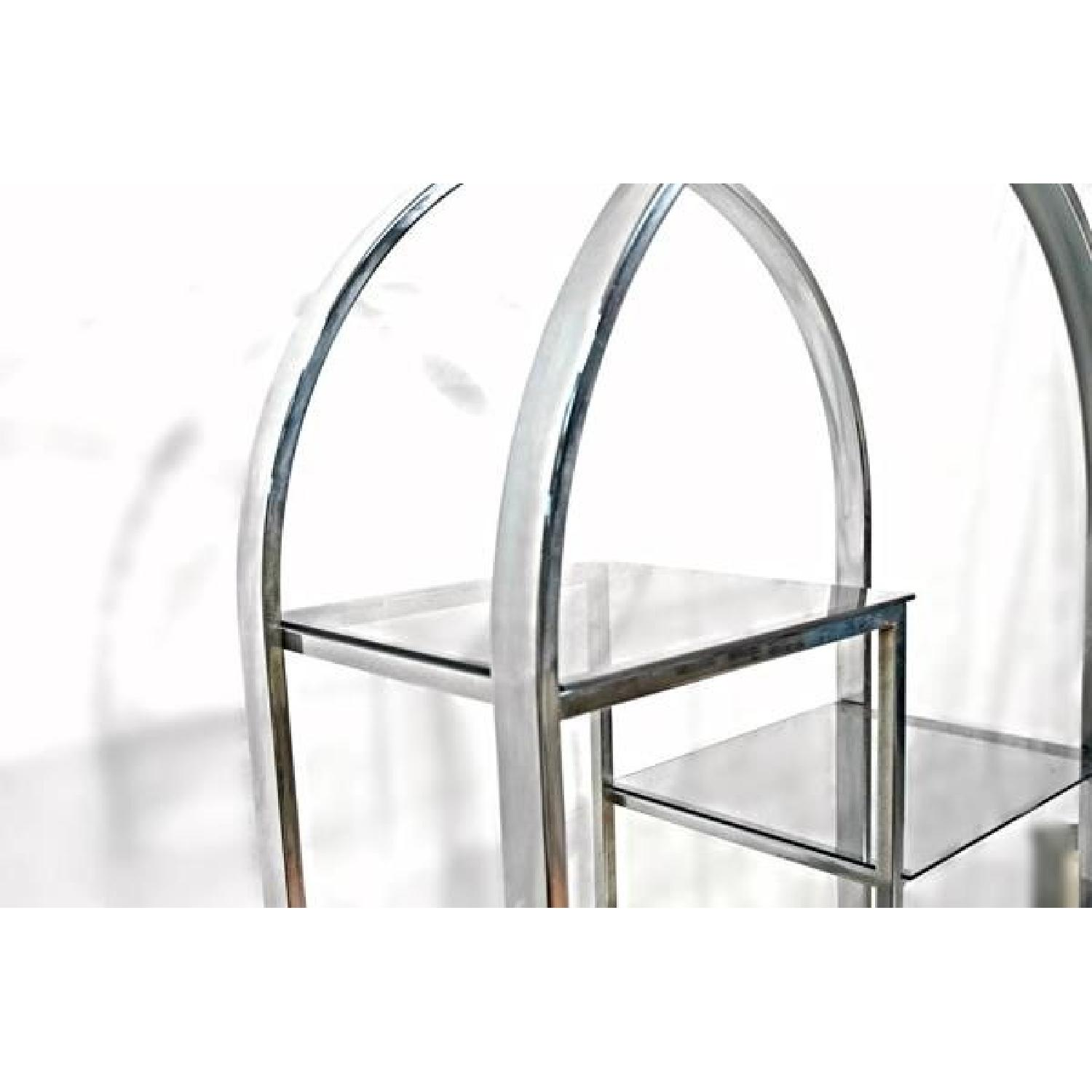 Milo Baughman Chrome Arched Top Etagere Smoked Glass Shelves - image-1