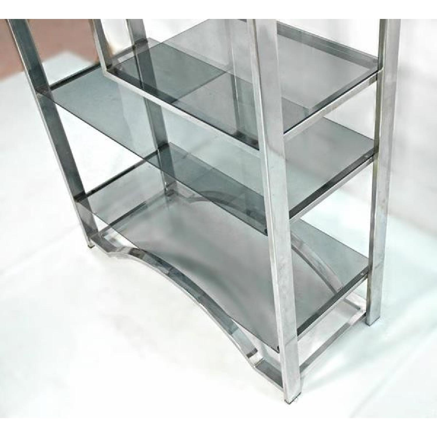 Milo Baughman Chrome Arched Top Etagere Smoked Glass Shelves - image-2