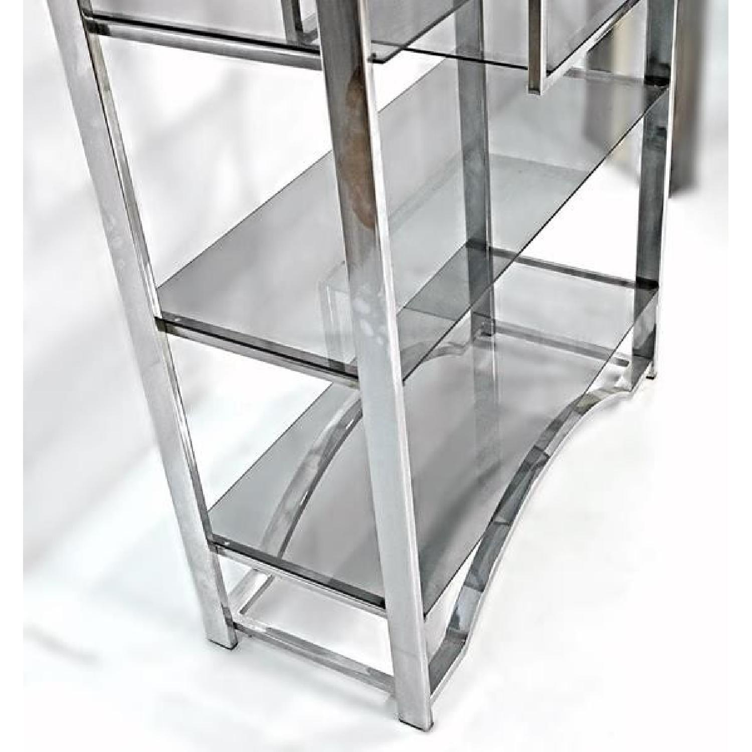 Milo Baughman Chrome Arched Top Etagere Smoked Glass Shelves - image-3