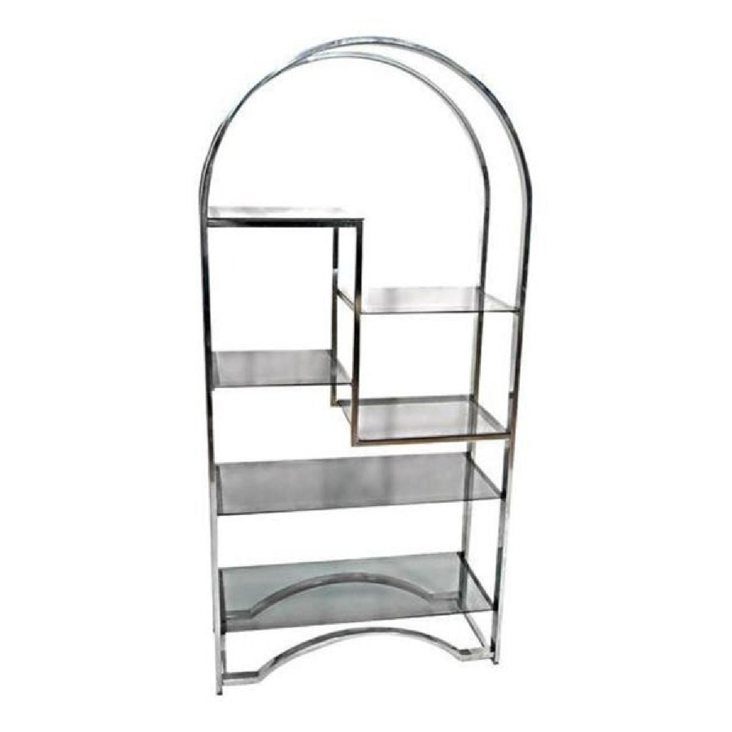 Milo Baughman Chrome Arched Top Etagere Smoked Glass Shelves - image-5