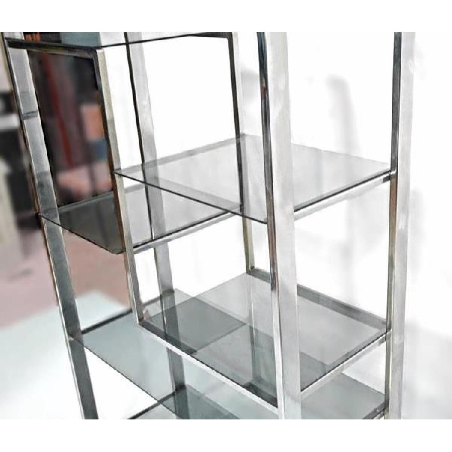 Milo Baughman Chrome Arched Top Etagere Smoked Glass Shelves - image-6