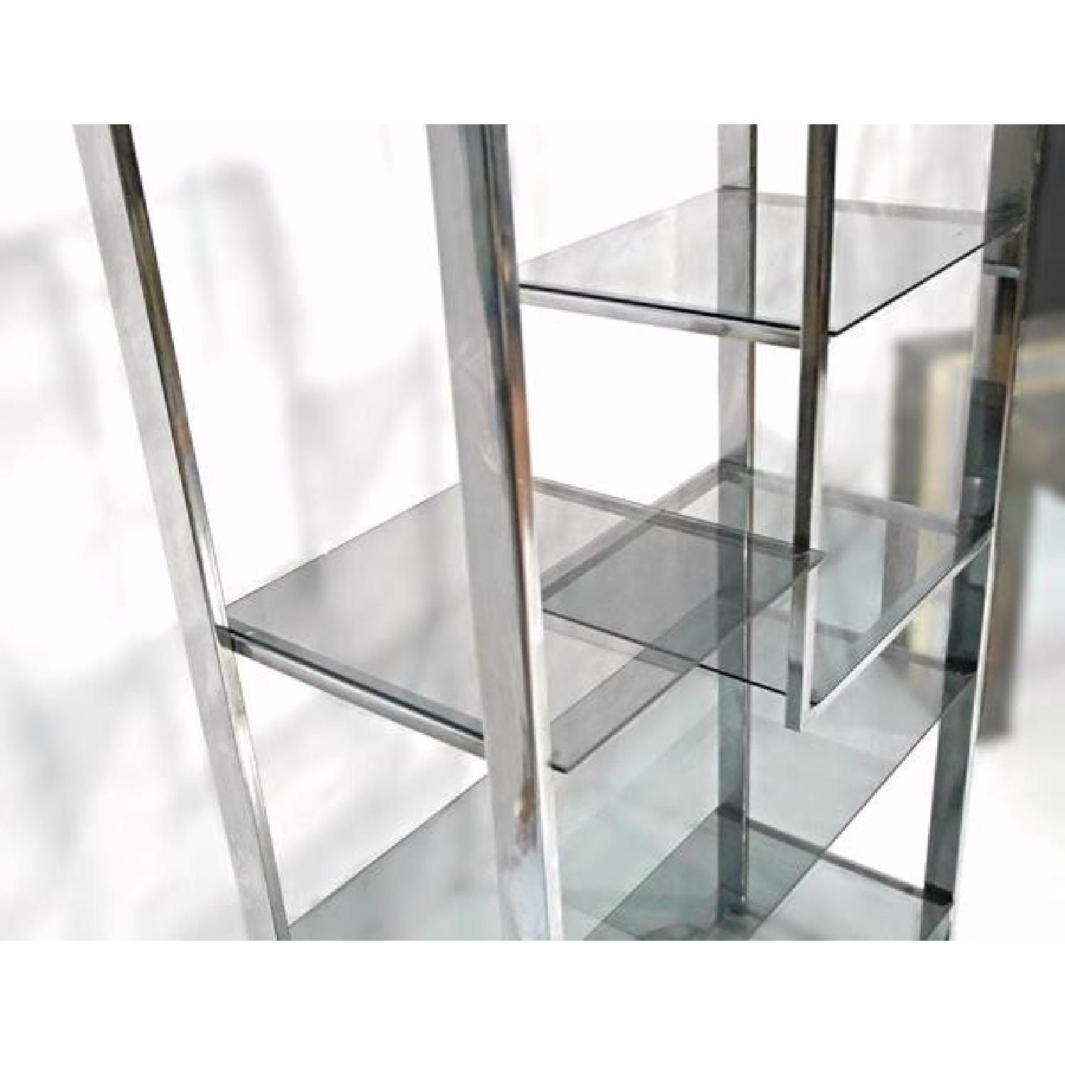 Milo Baughman Chrome Arched Top Etagere Smoked Glass Shelves - image-7