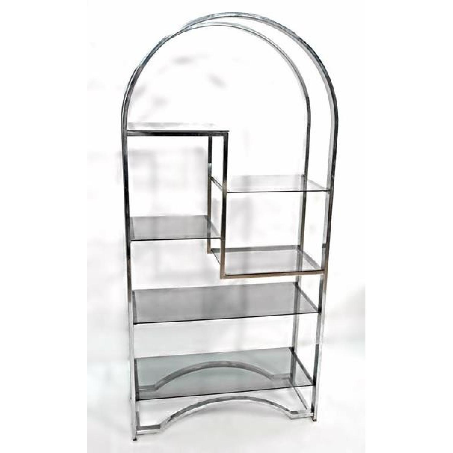 Milo Baughman Chrome Arched Top Etagere Smoked Glass Shelves - image-8