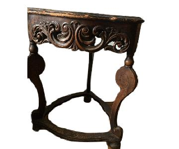 Antique Carved 3 Sided Triangular Accent Table