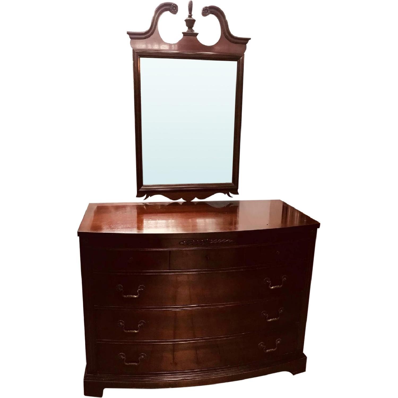 Antique 1930s Huntley Furniture Mahogany Dresser W/ Mirror ...
