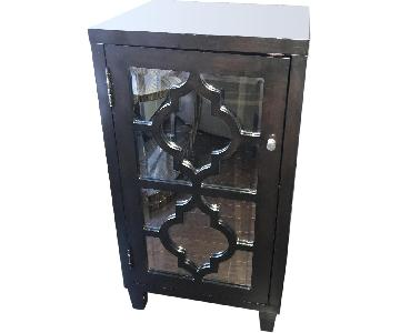 Black Mirrored Trellis Accent Cabinet
