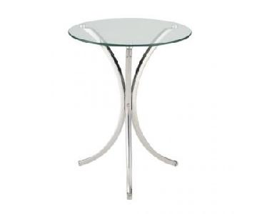 Coaster Chrome Accent Table w/ Round Glass Top