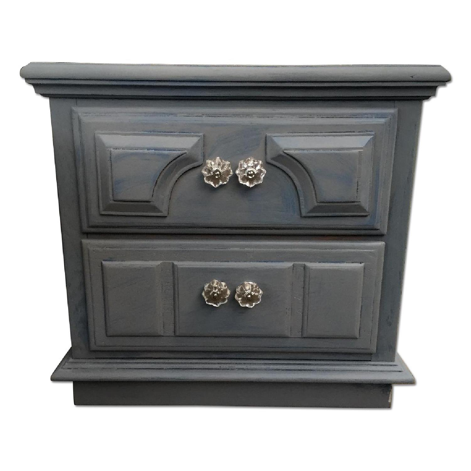 Blue Wash Distressed Nightstand - image-0