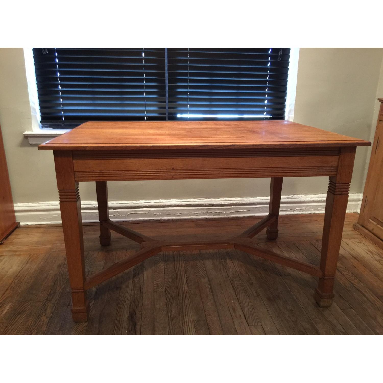 Antique European Tiger Oak Dining Table - image-1
