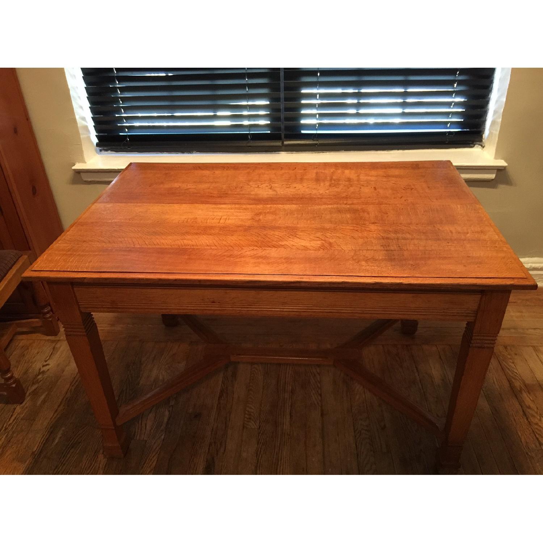 Antique European Tiger Oak Dining Table - image-2