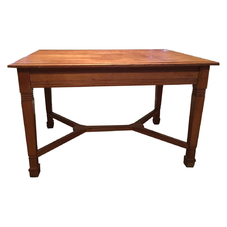 Antique European Tiger Oak Dining Table - image-0