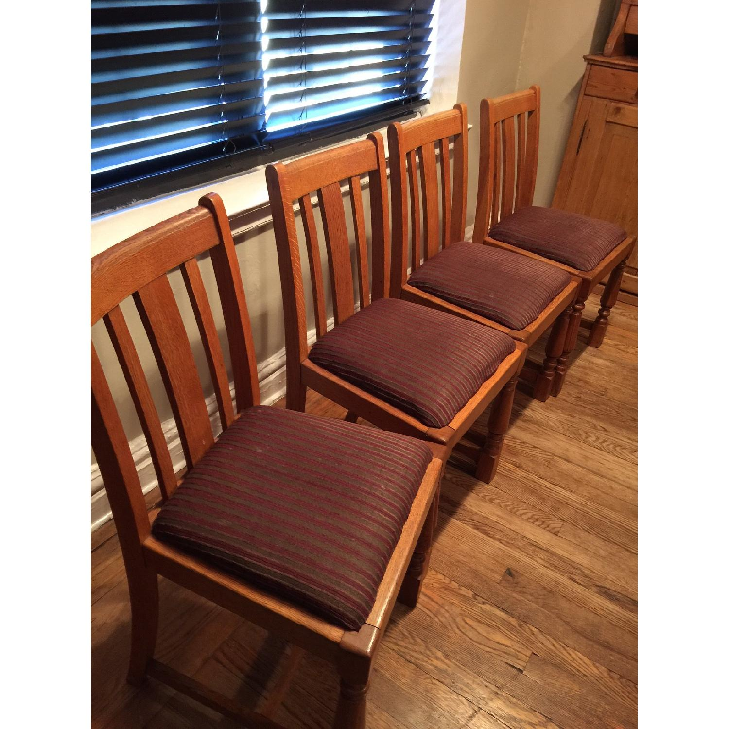 Antique European Tiger Oak Dining Chairs - image-2
