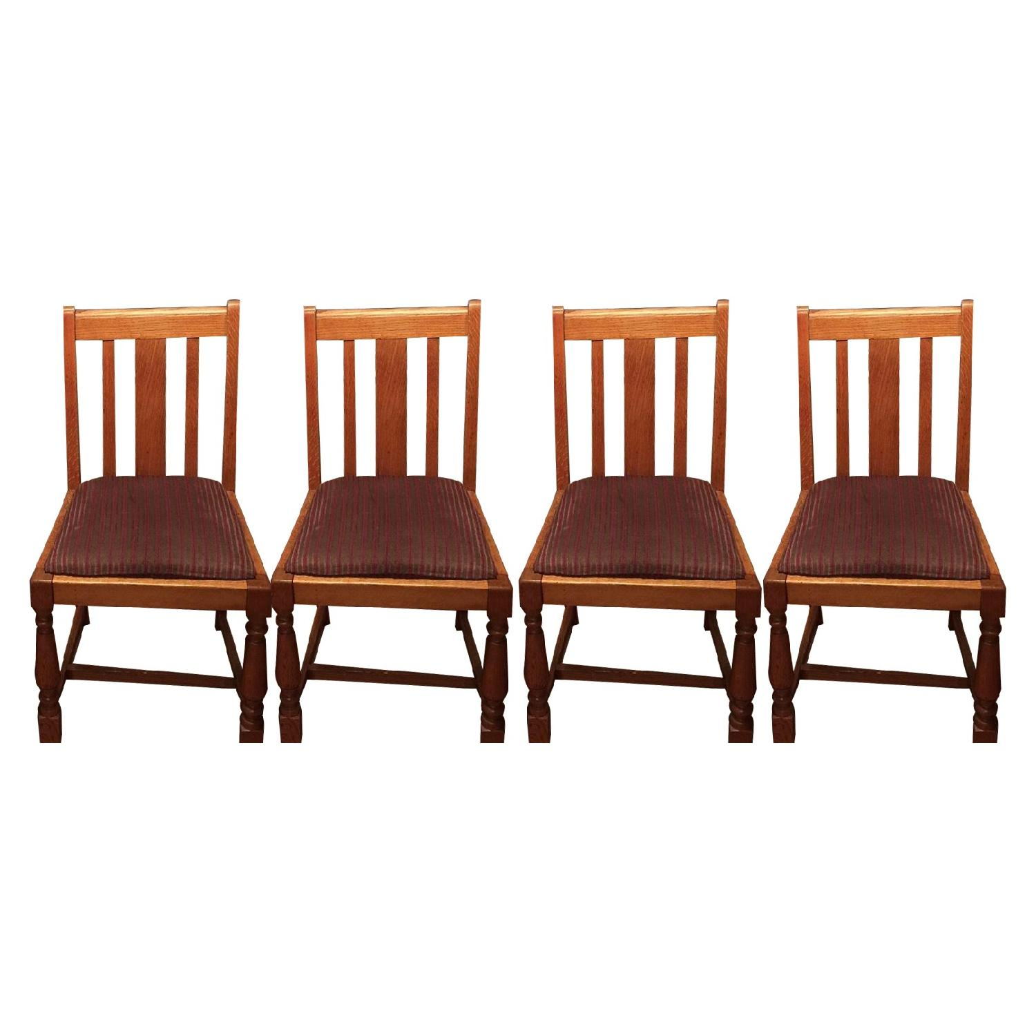 Antique European Tiger Oak Dining Chairs - image-0