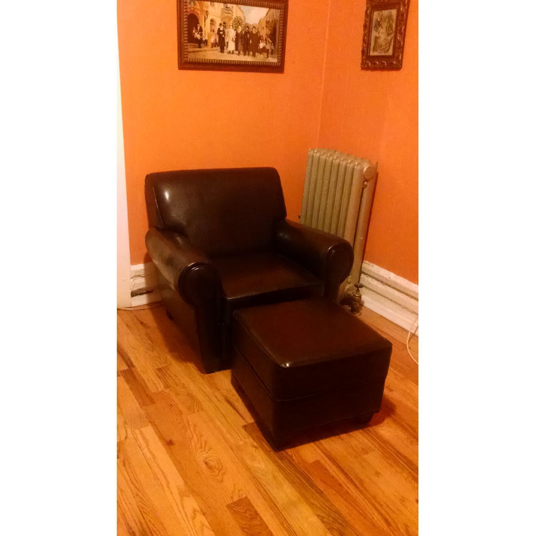 Sonoma Leather Club Chair w/ Storage Ottoman - image-1