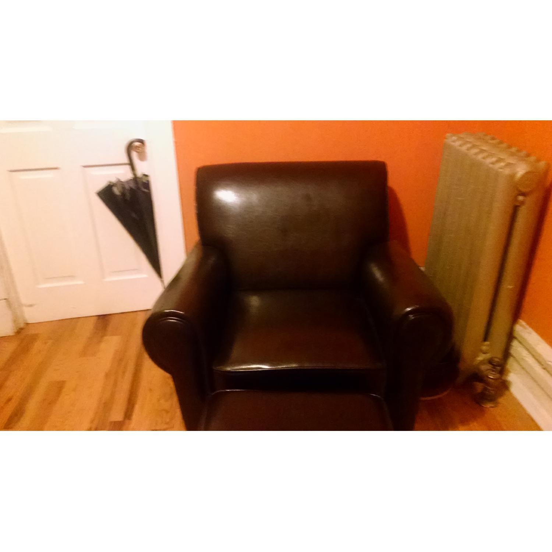 Sonoma Leather Club Chair w/ Storage Ottoman - image-2