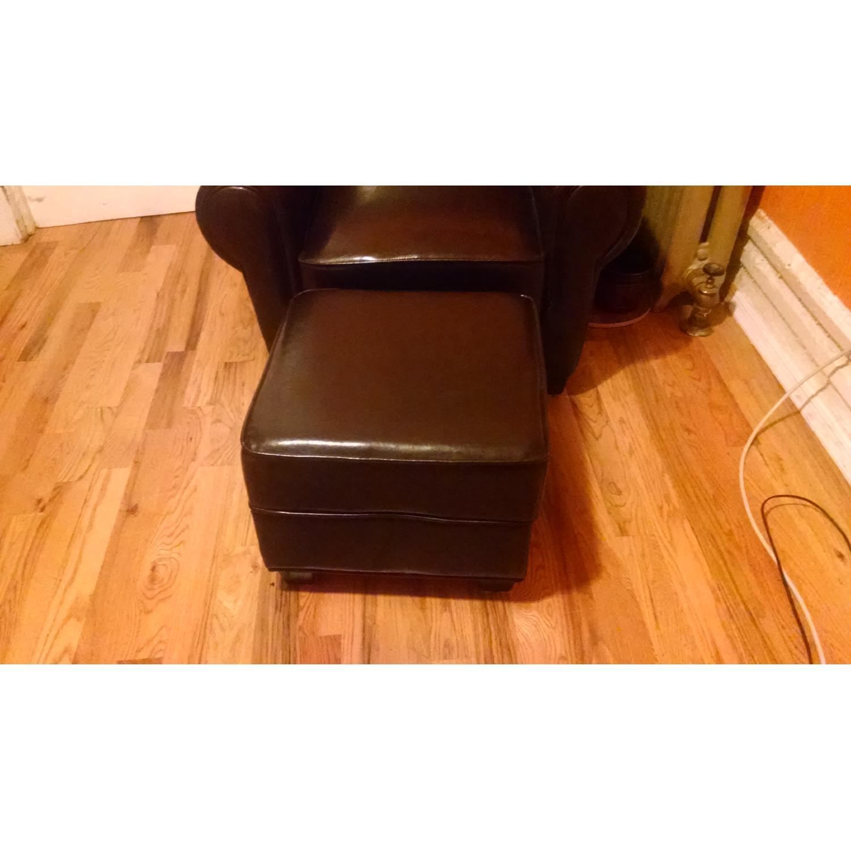 Sonoma Leather Club Chair w/ Storage Ottoman - image-3