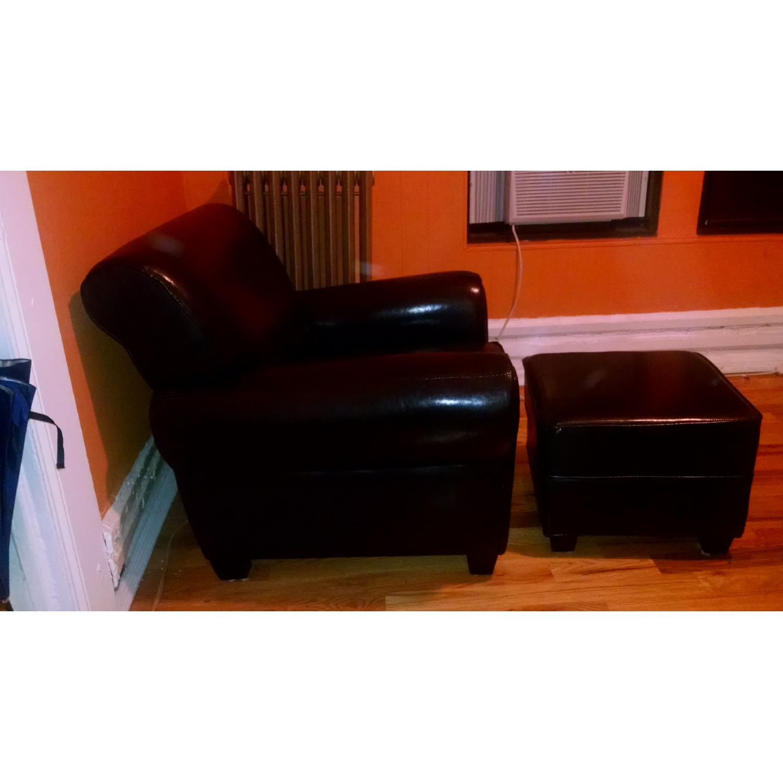 Sonoma Leather Club Chair w/ Storage Ottoman - image-4