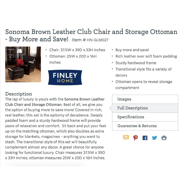 Sonoma Leather Club Chair w/ Storage Ottoman - image-5