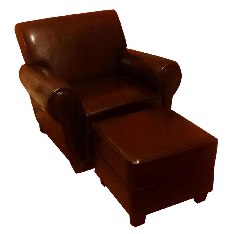 Sonoma Leather Club Chair w/ Storage Ottoman - image-0