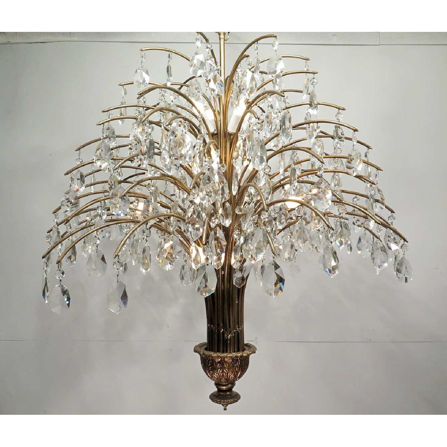 Antique Vintage Mid-Century Grand Chandelier Fixture w/ Crystals - image-1