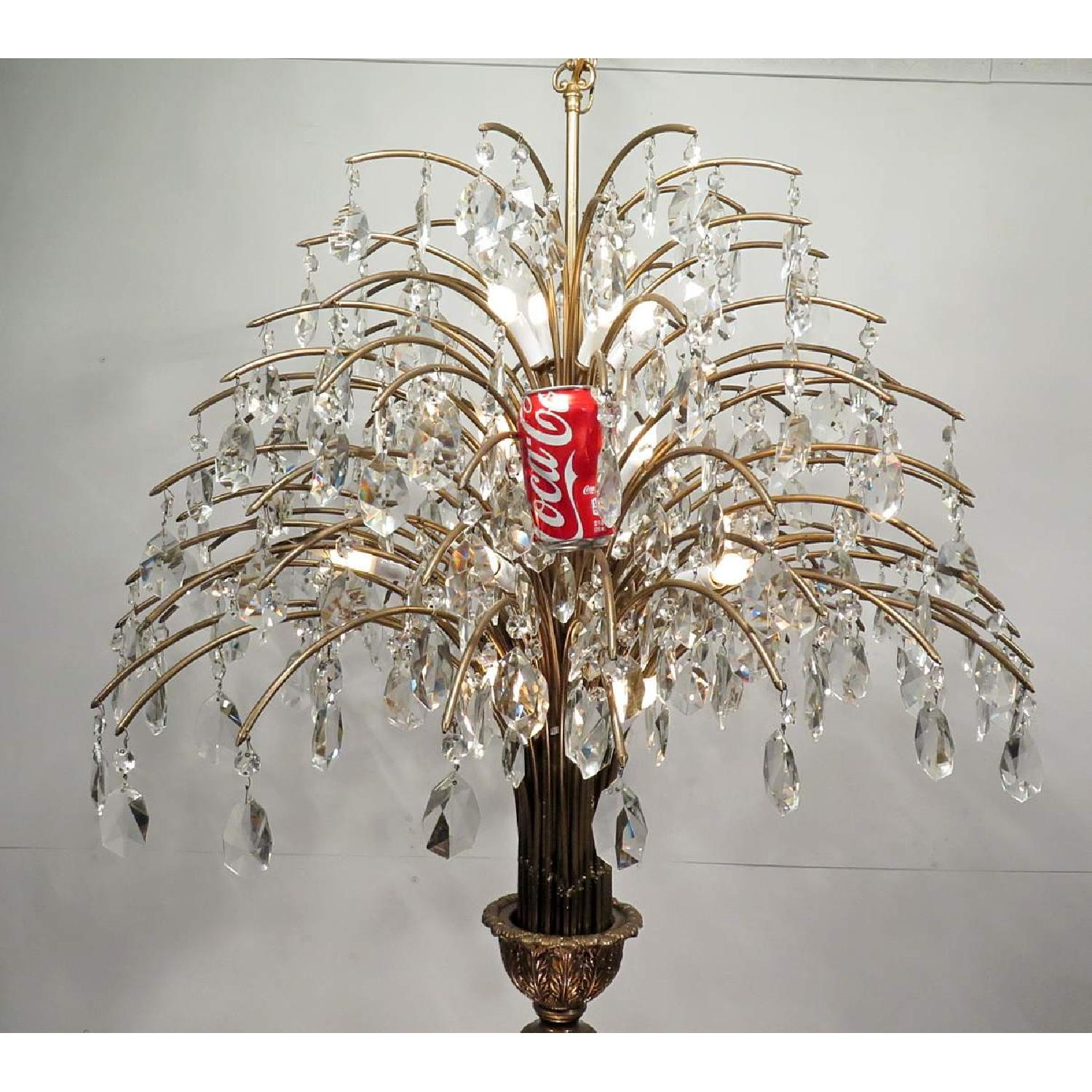 Antique Vintage Mid-Century Grand Chandelier Fixture w/ Crystals - image-5