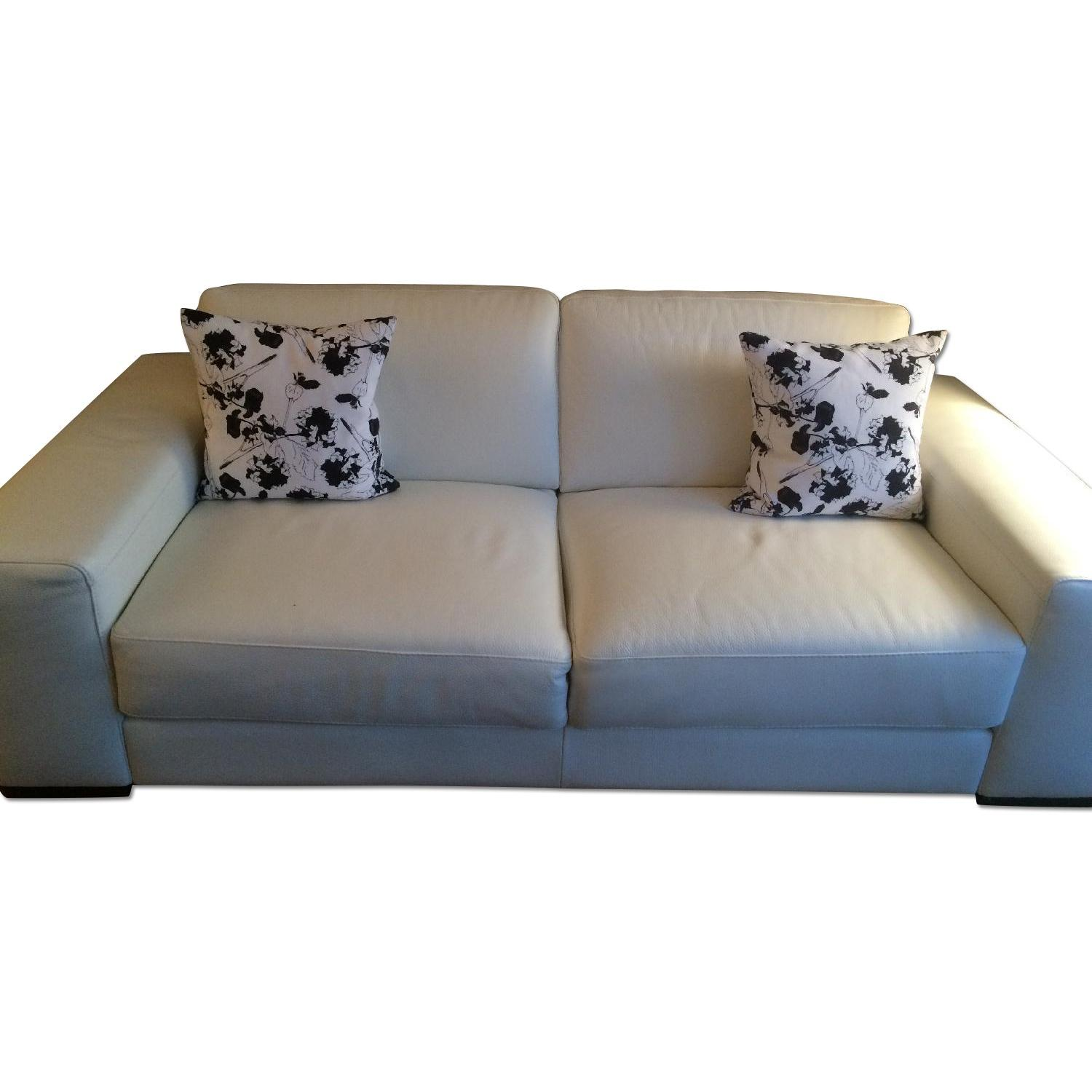 Natuzzi Clark White Leather Sofa - image-0