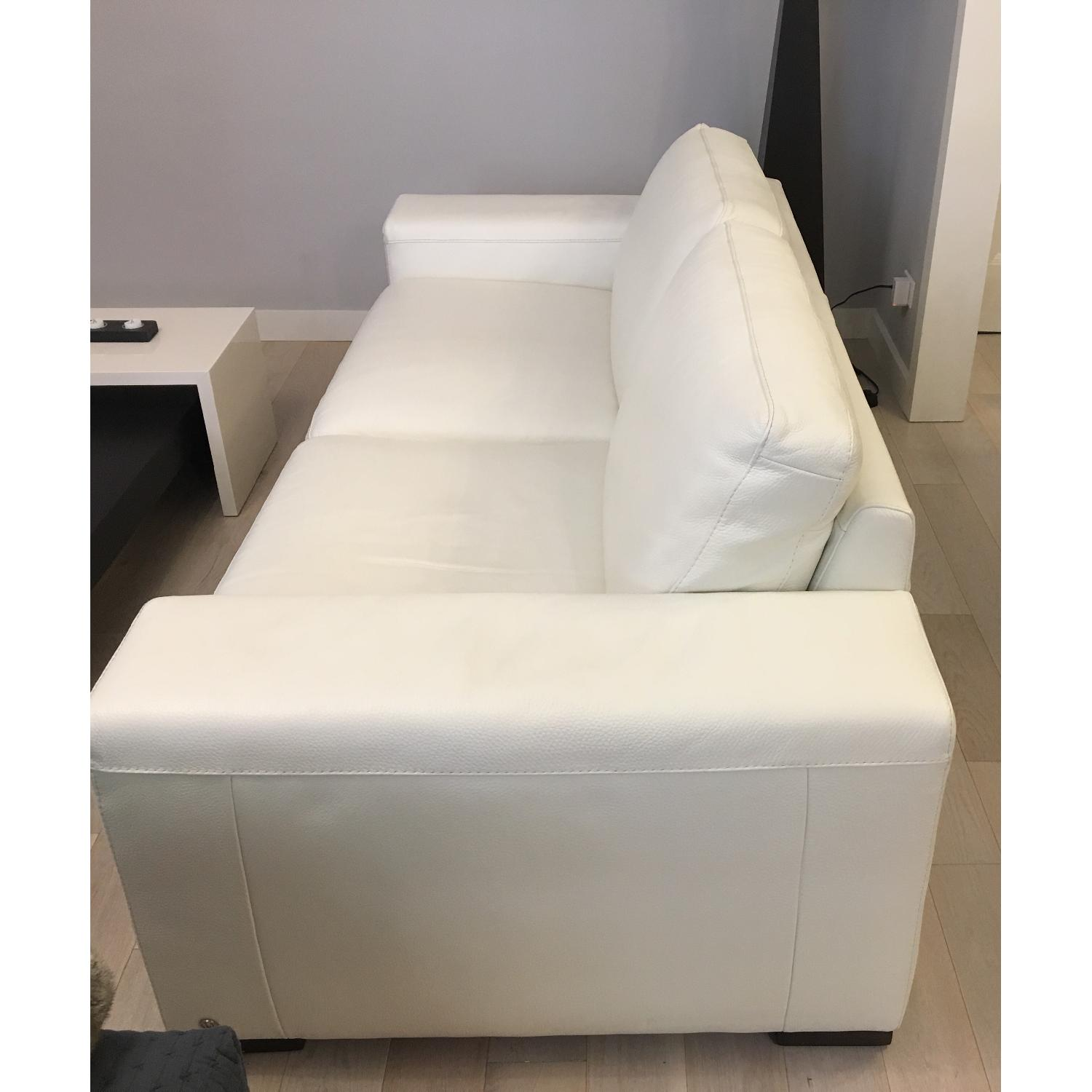 Natuzzi Clark White Leather Sofa - image-3