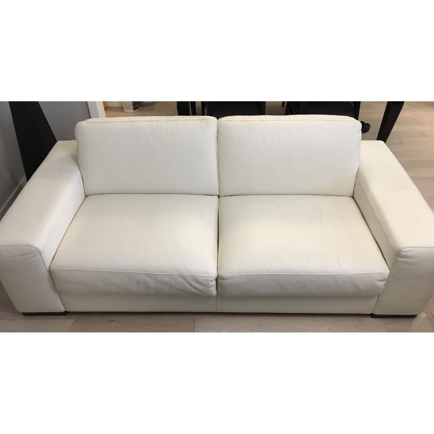 Natuzzi Clark White Leather Sofa - image-5