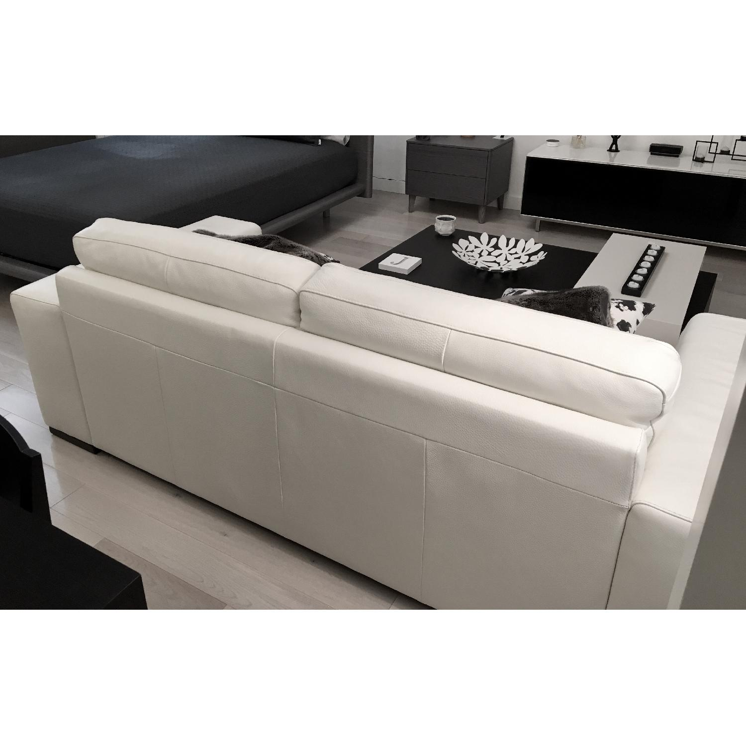Natuzzi Clark White Leather Sofa - image-6