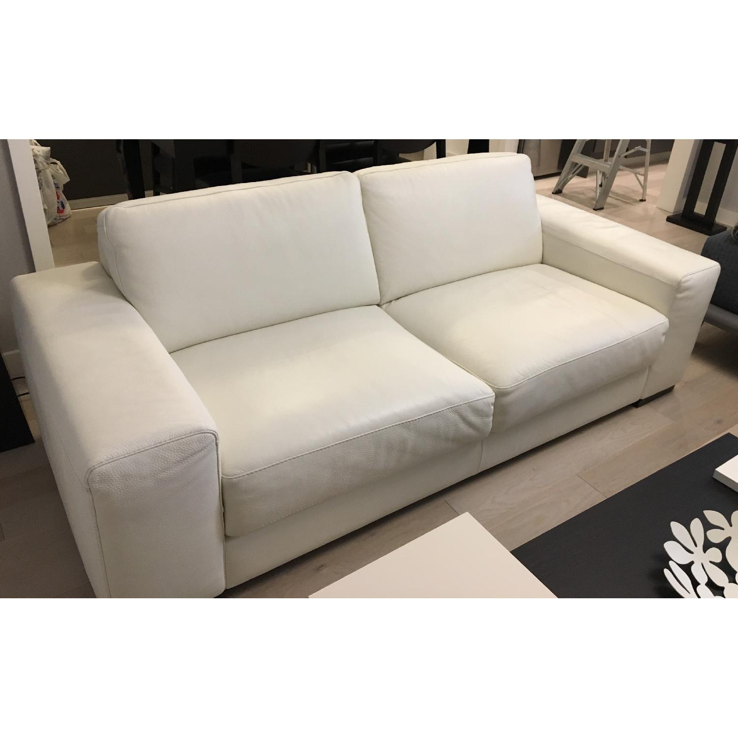 Natuzzi Clark White Leather Sofa - image-7