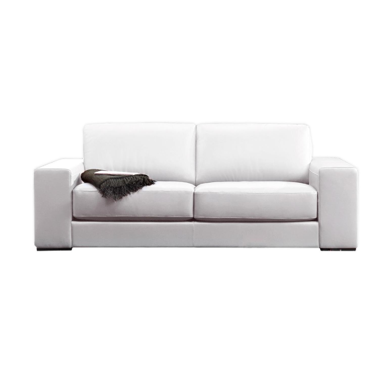 Natuzzi Clark White Leather Sofa - image-8