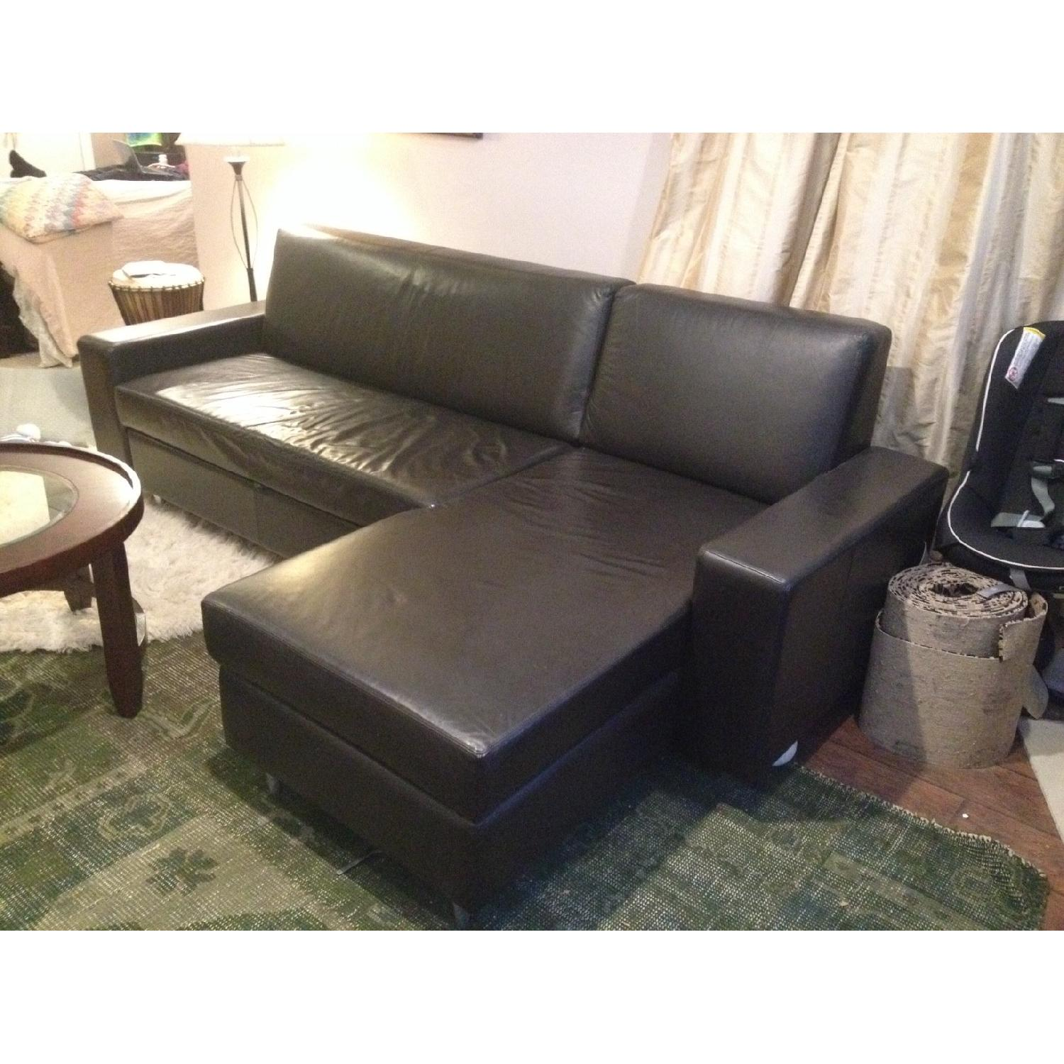 MDC Furniture Espresso L-Shape Leather Pull-Out Couch - image-3