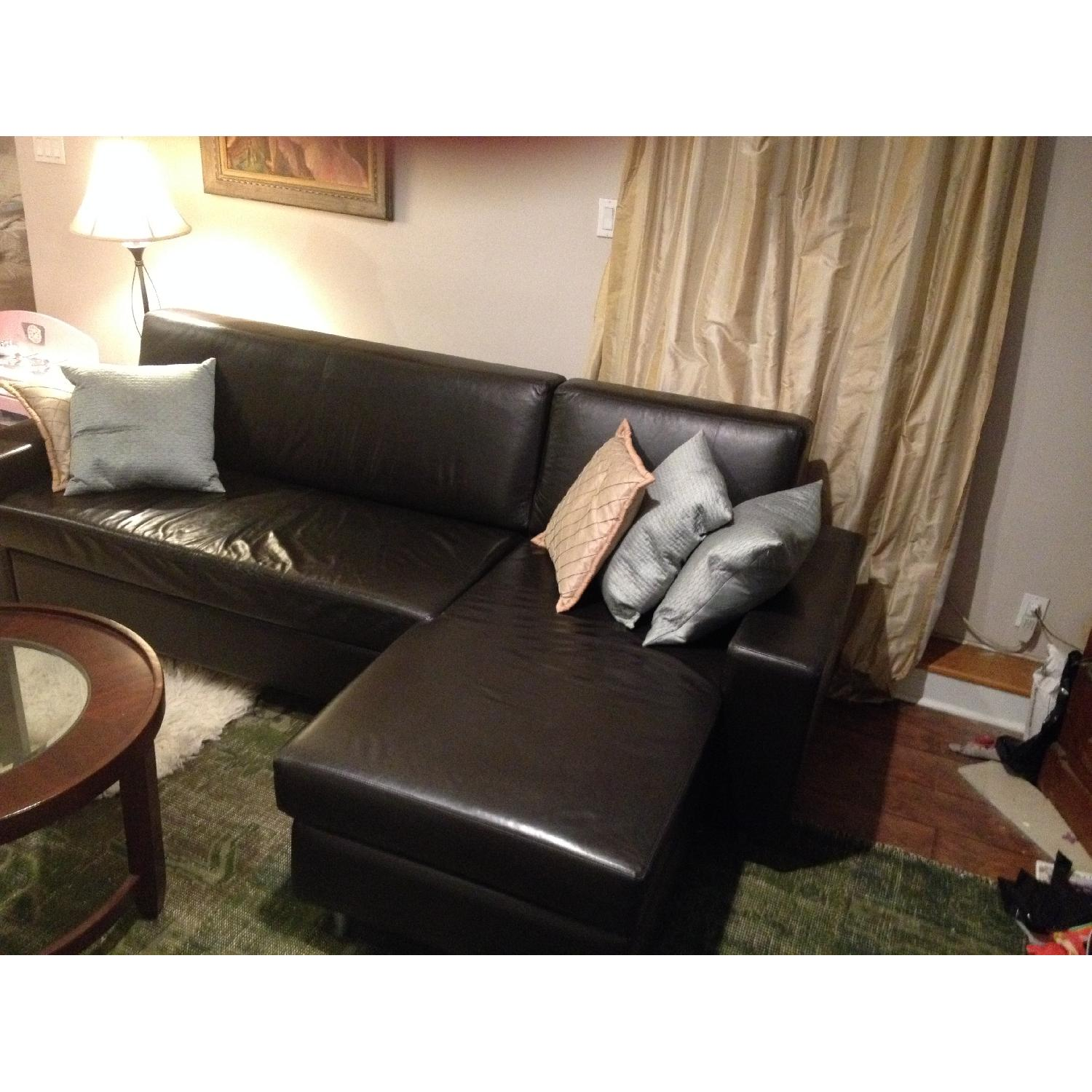 MDC Furniture Espresso L-Shape Leather Pull-Out Couch - image-5