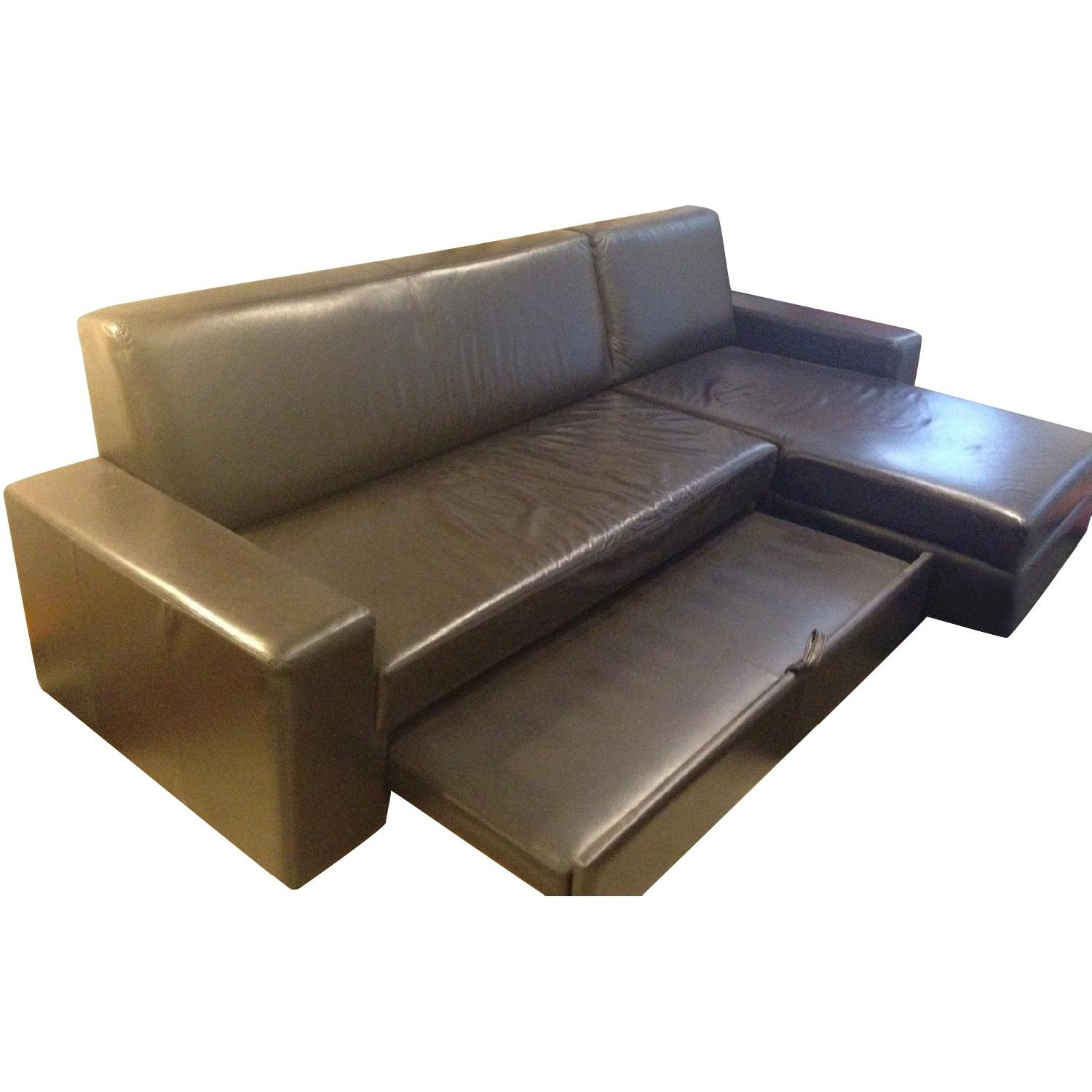 MDC Furniture Espresso L-Shape Leather Pull-Out Couch - image-0