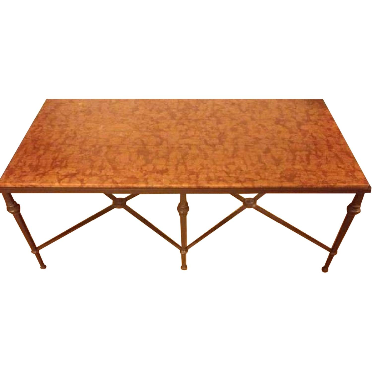 Wrought Iron Marble Coffee Table Aptdeco