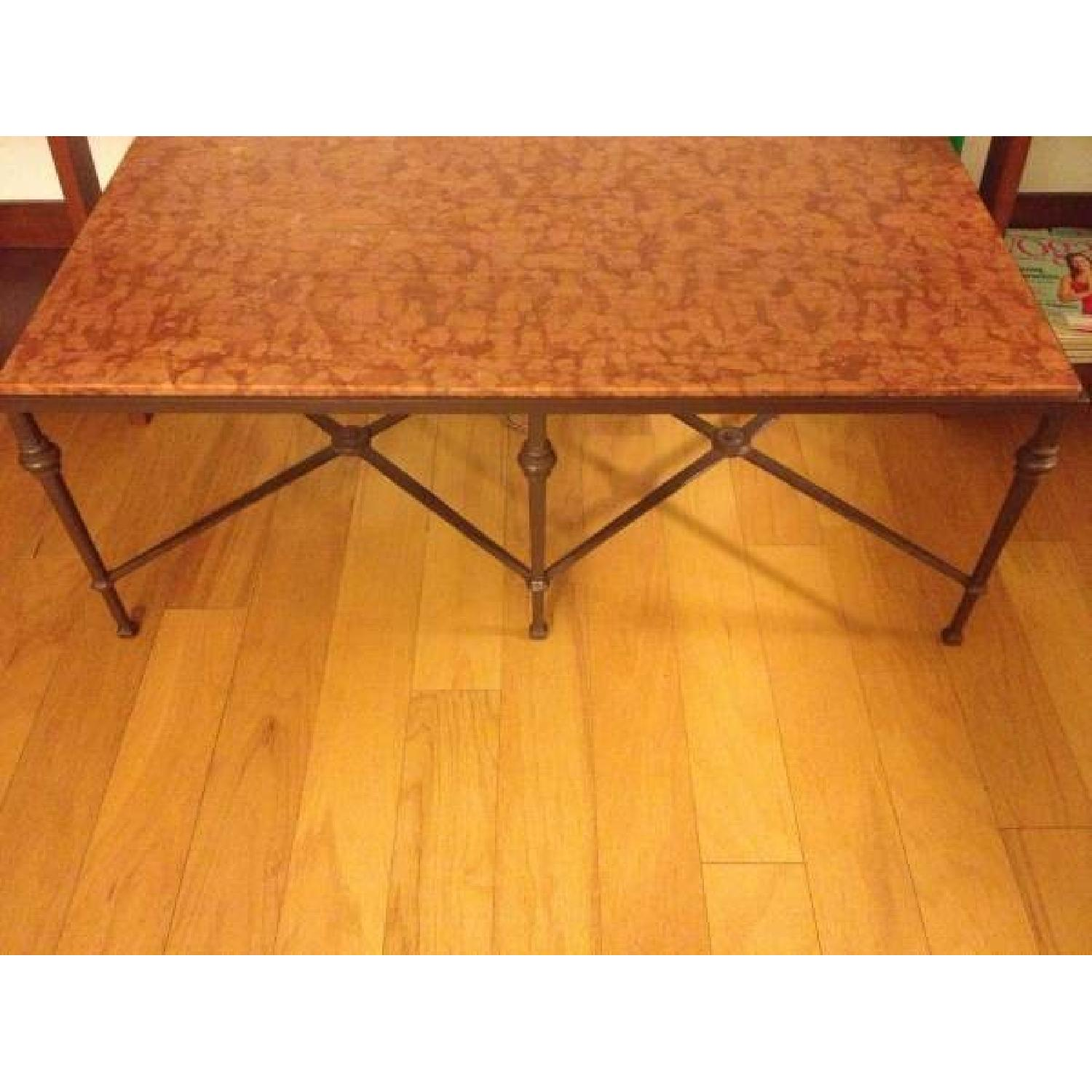 Wrought Iron Marble Coffee Table - image-2