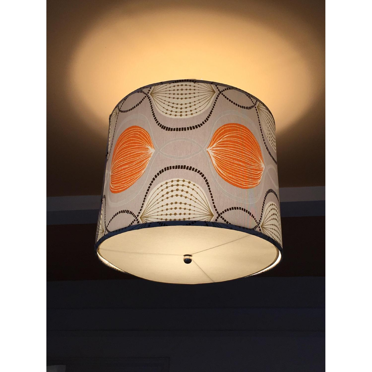 Custom Drum Ceiling Light - Gray & Orange - image-2