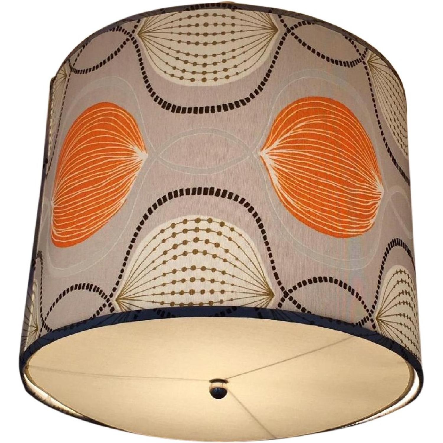 Custom Drum Ceiling Light - Gray & Orange - image-0
