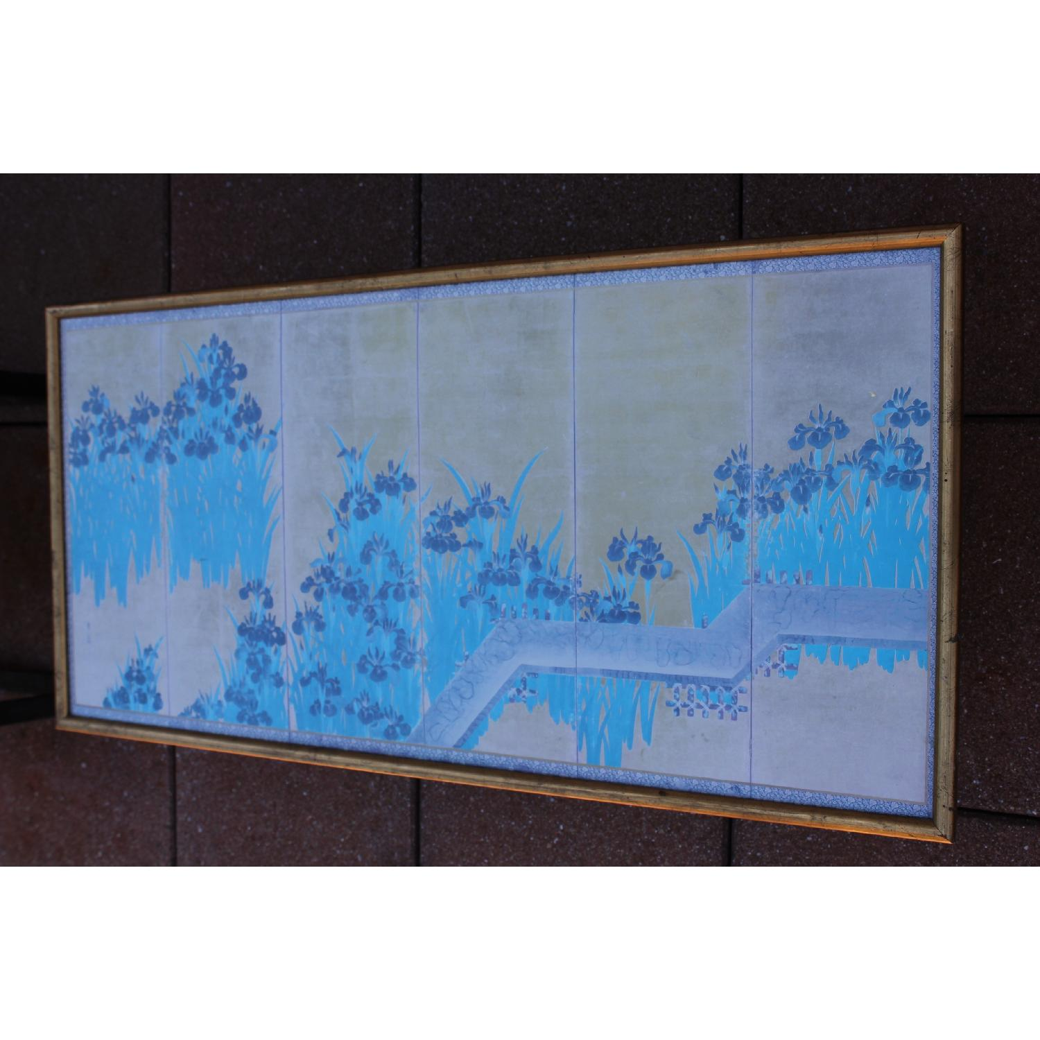 Antique Chinese Turquoise/Gold Print on Paper of Iris Flowers in Gold Frame - image-1