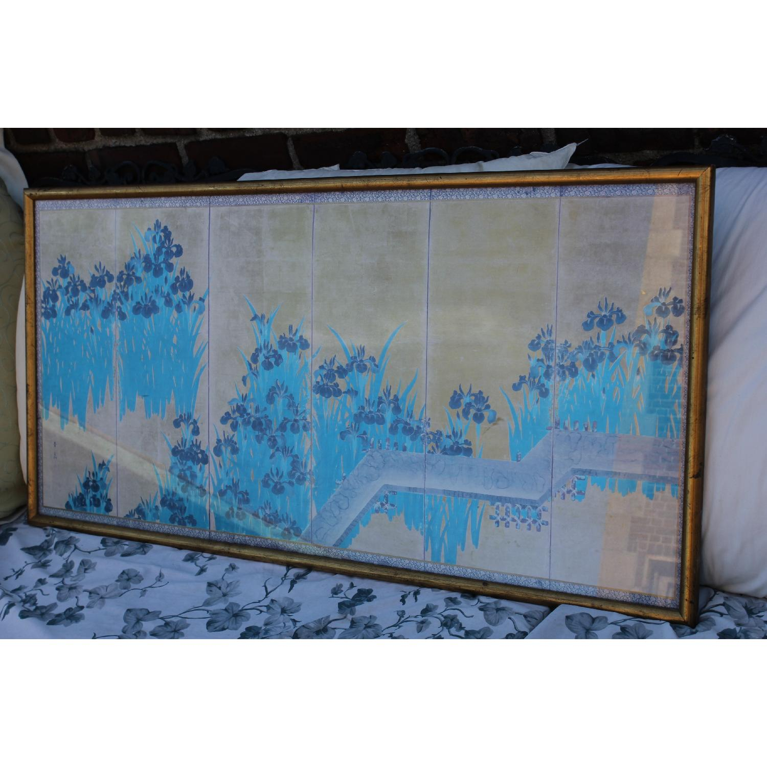 Antique Chinese Turquoise/Gold Print on Paper of Iris Flowers in Gold Frame - image-2