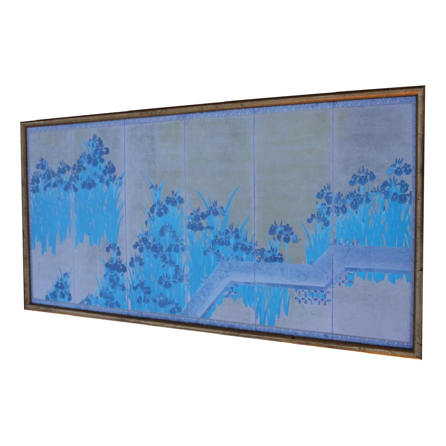 Antique Chinese Turquoise/Gold Print on Paper of Iris Flowers in Gold Frame - image-3