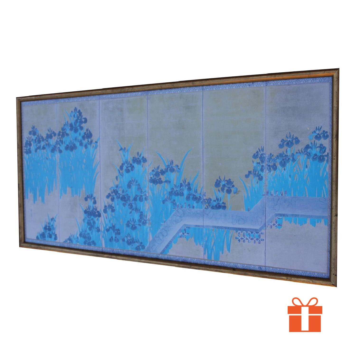Antique Chinese Turquoise/Gold Print on Paper of Iris Flowers in Gold Frame - image-0