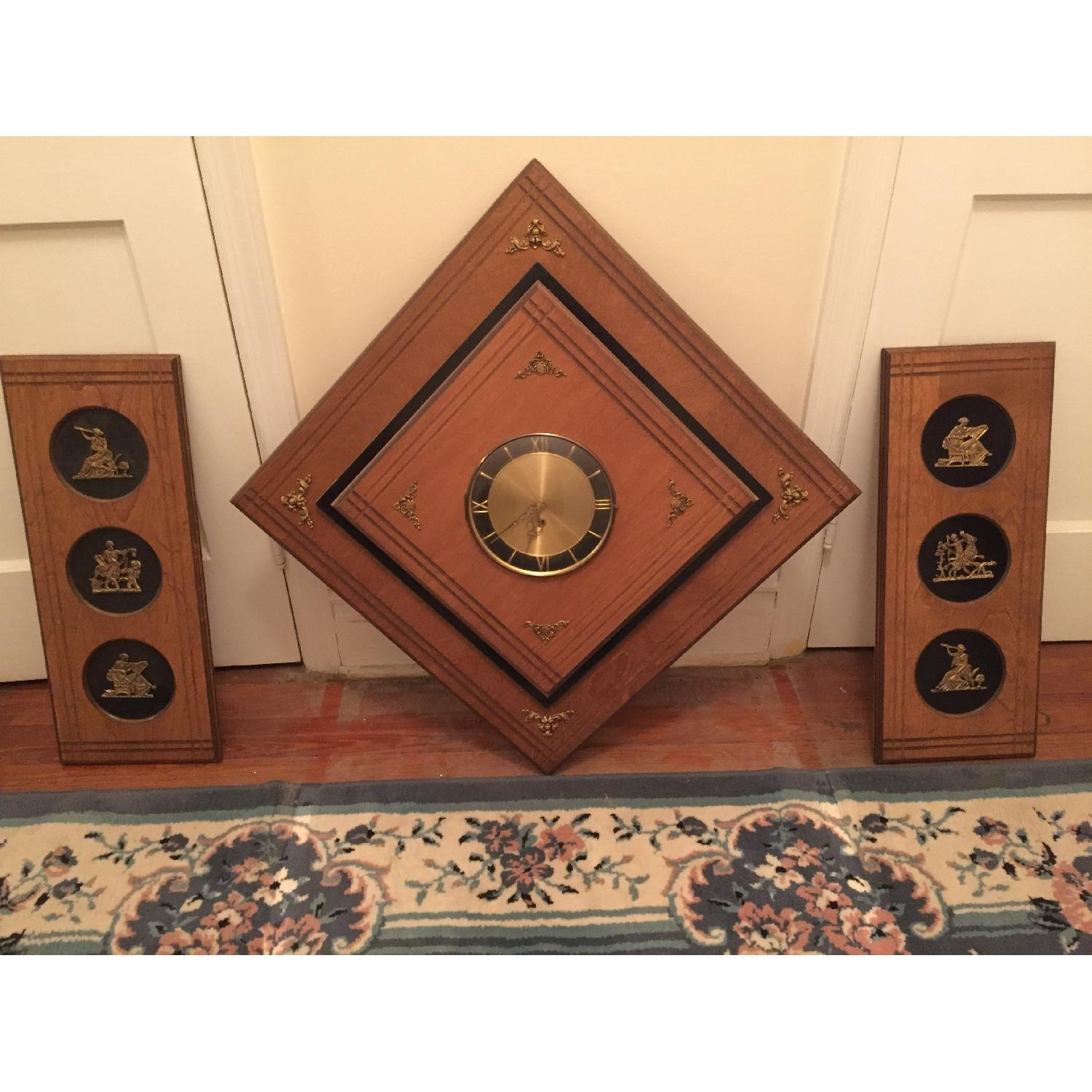 Circa 1970 Wood Wall Clock With Side Panels - image-1