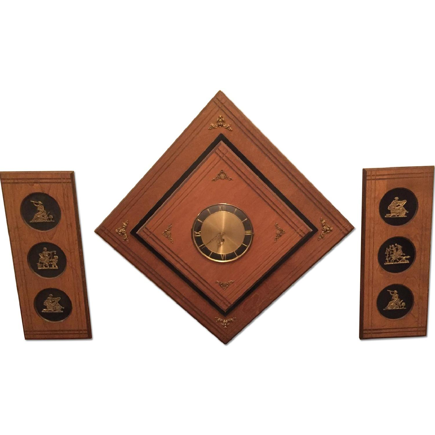 Circa 1970 Wood Wall Clock With Side Panels - image-0
