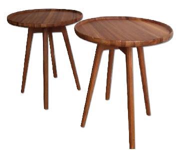 Mid Century Style Teak Side Tables - Pair
