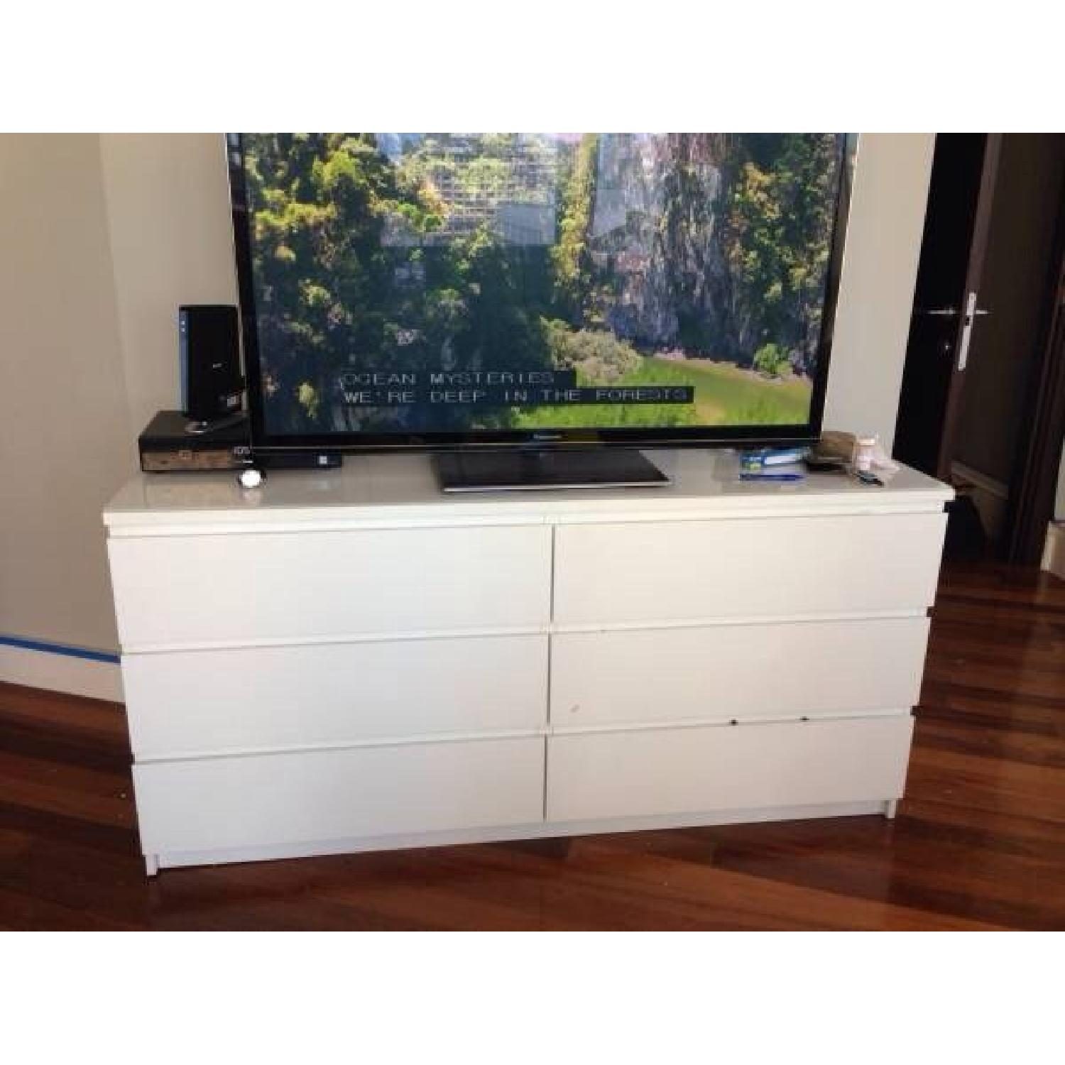 White Dresser Entertainment Center w/ Glass Top - image-1
