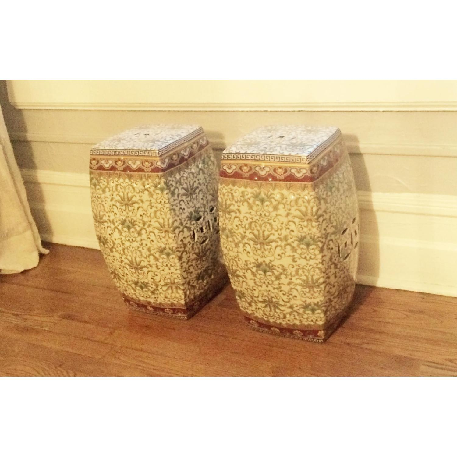 One King's Lane Ceramic Chinese Garden Seats - 2 Available - image-1