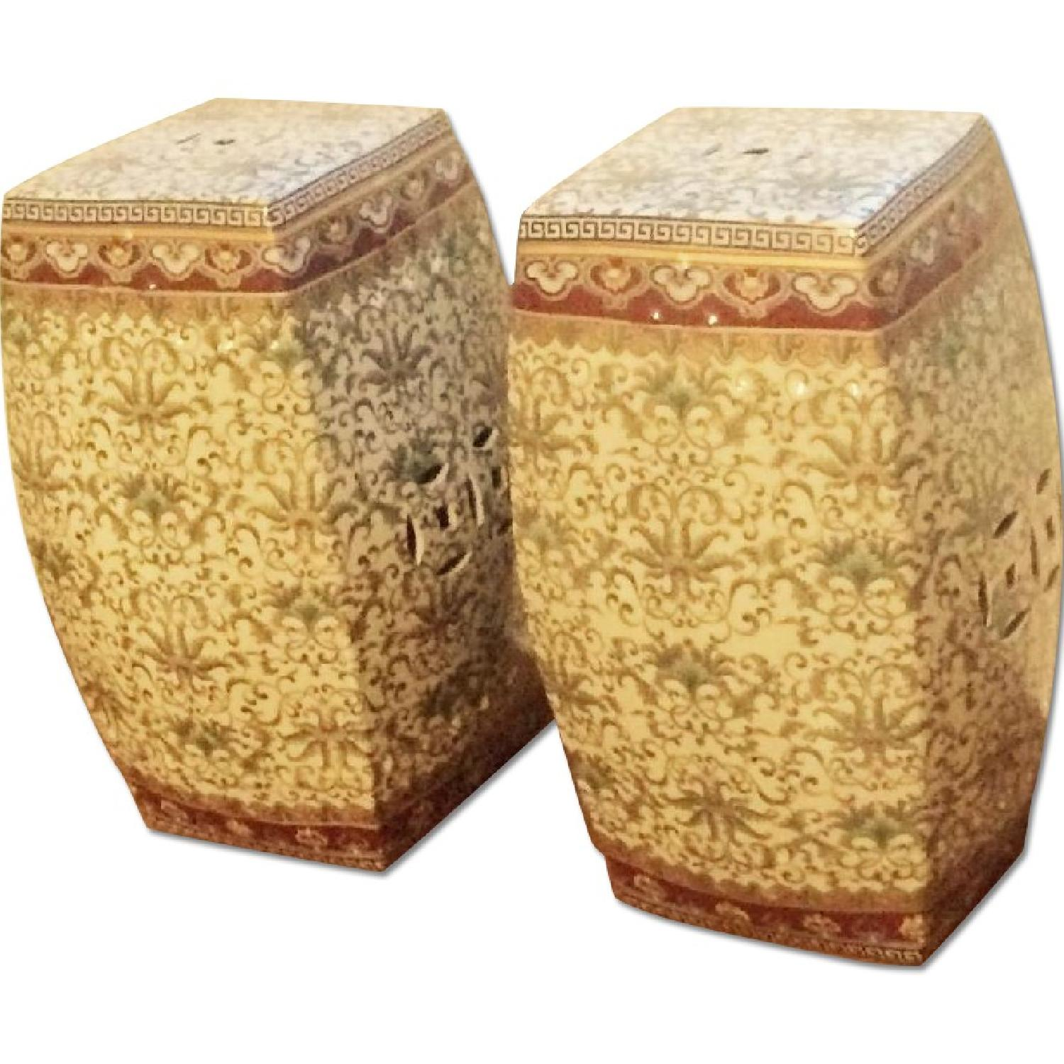 One King's Lane Ceramic Chinese Garden Seats - 2 Available - image-2