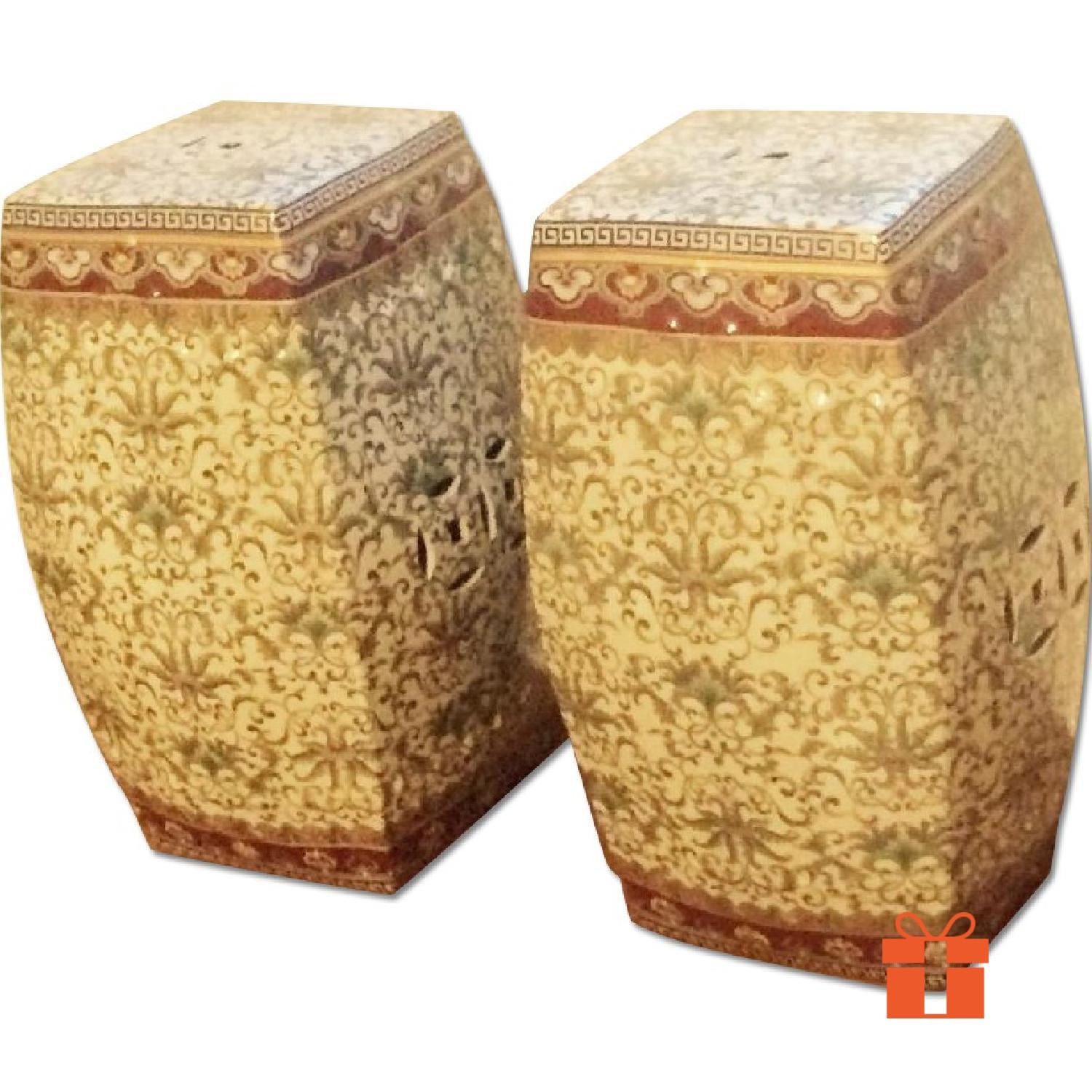 One King's Lane Ceramic Chinese Garden Seats - 2 Available - image-0