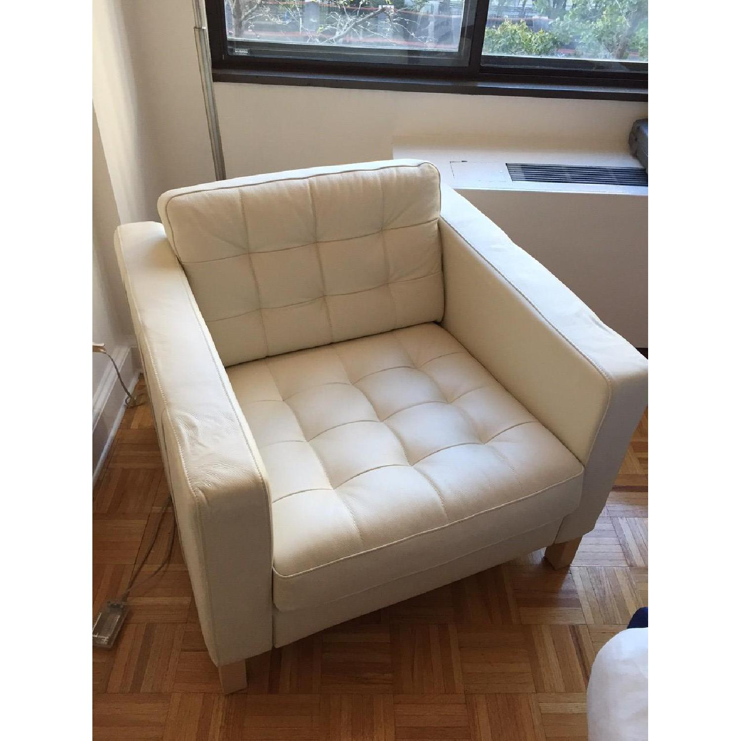 Ikea Leather Off White Armchair - image-1